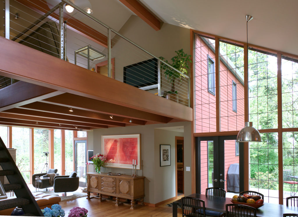 Contemporary Cottage Modern Studio family room open floor plan vaulted ceiling cable rail exposed ceiling beams