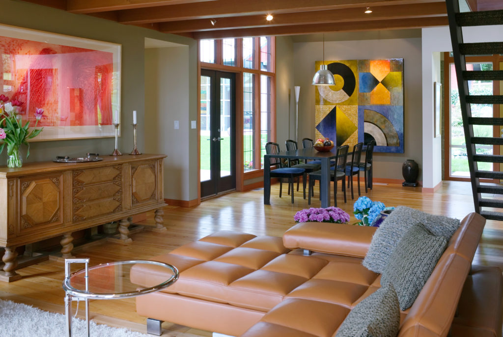 Contemporary Cottage Modern Studio family room exposed ceiling beams