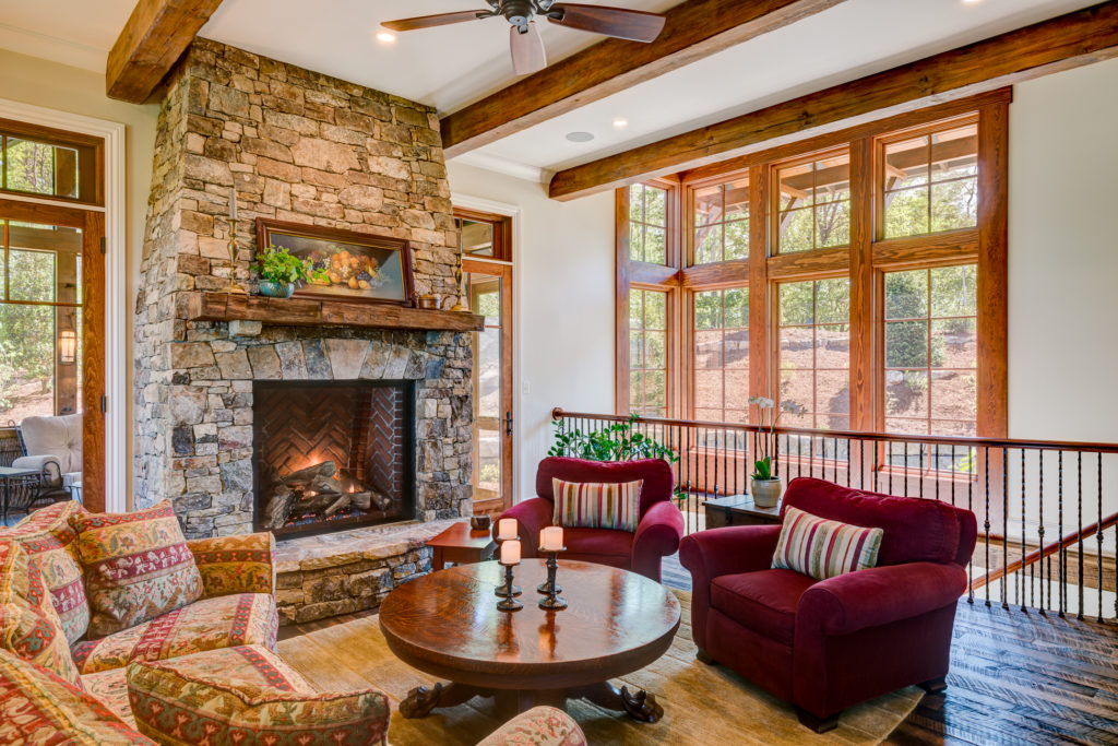 Craftsman Mountain Cabin Cottage stone fireplace open stairway
