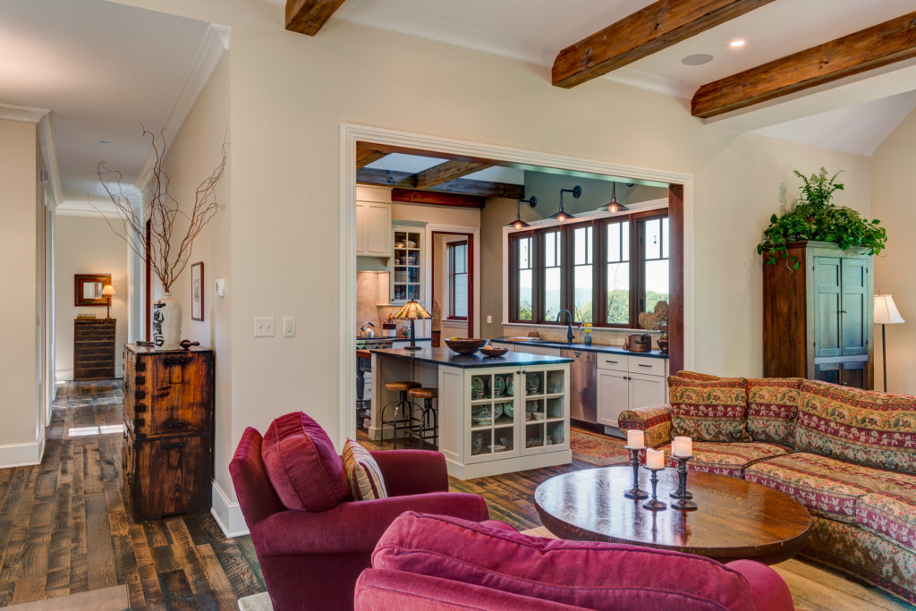 Craftsman Mountain Cabin Cottage exposed beams open floor plan