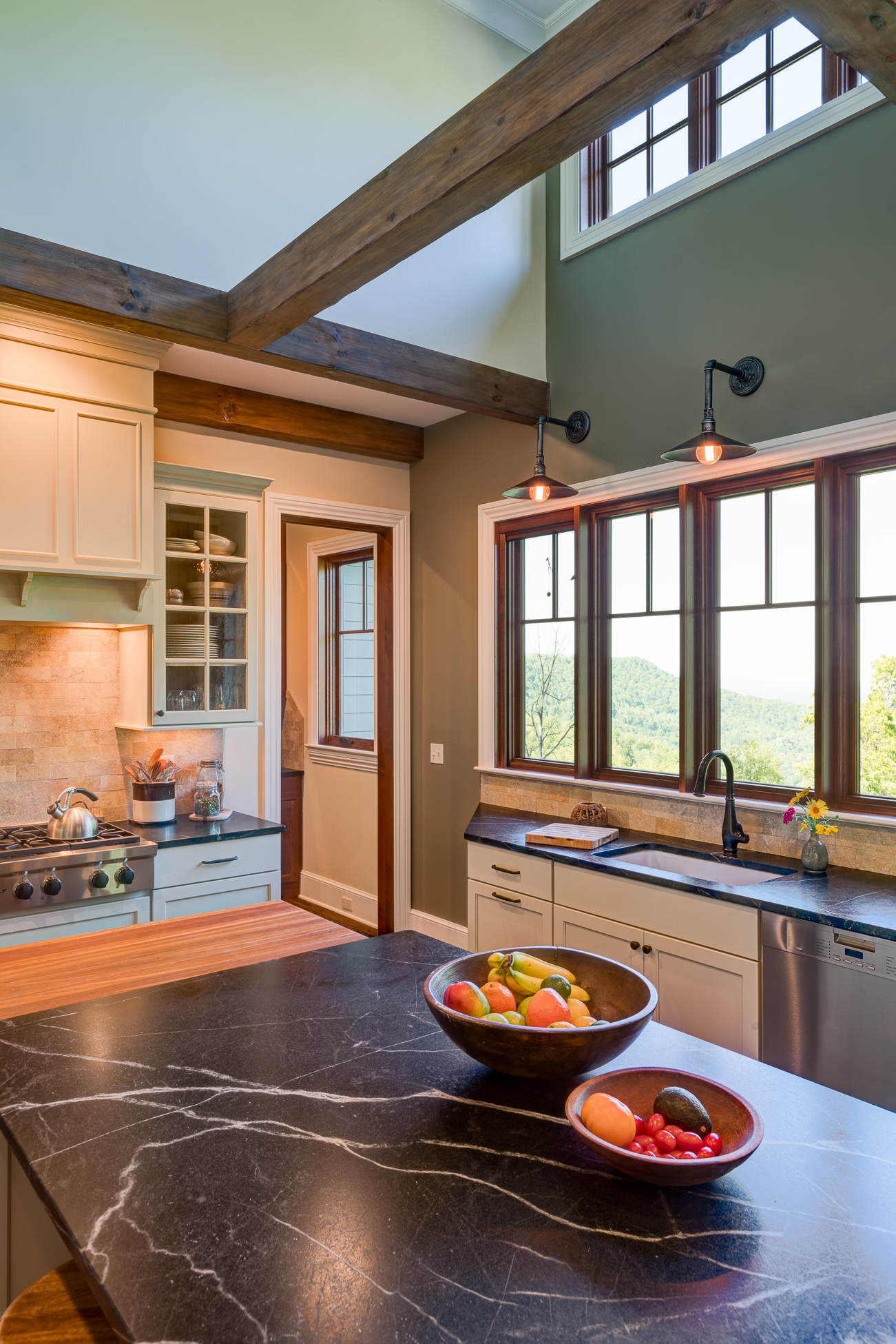 Craftsman Mountain Cabin Cottage kitchen exposed beams white cabinets