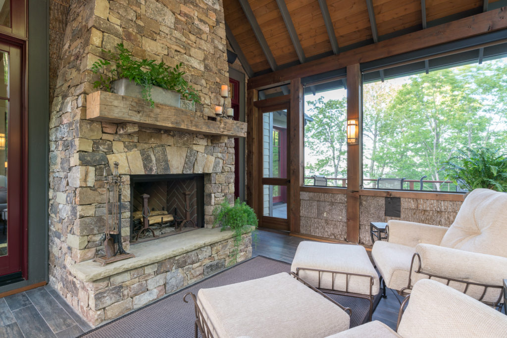Craftsman Mountain Cabin Cottage exposed beams screened porch stone fireplace