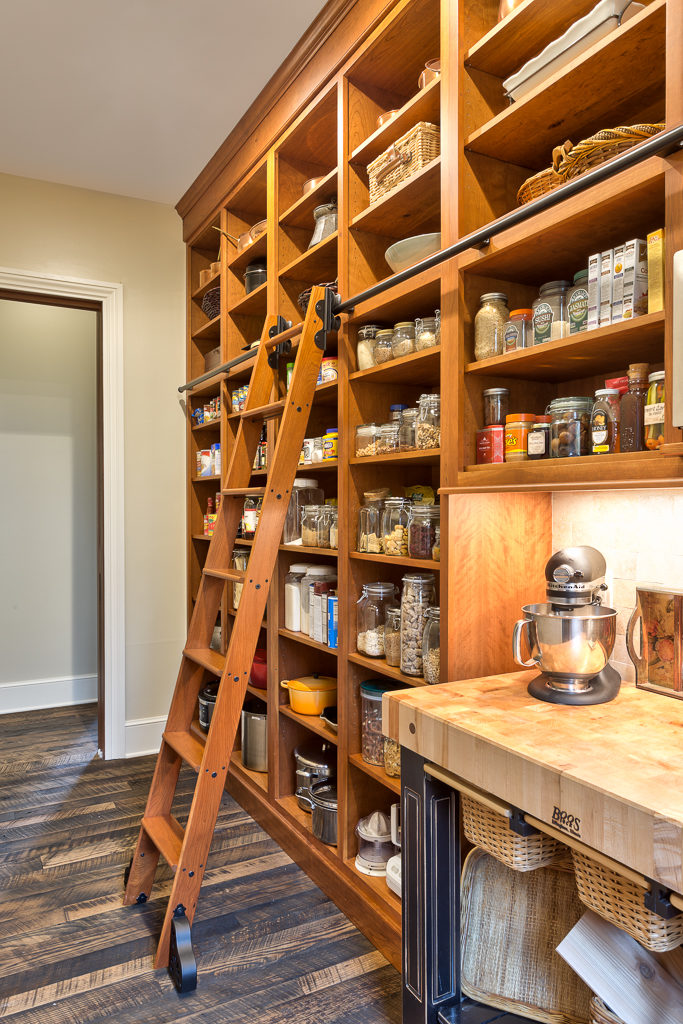 Craftsman Mountain Cabin Cottage kitchen open pantry rolling ladder