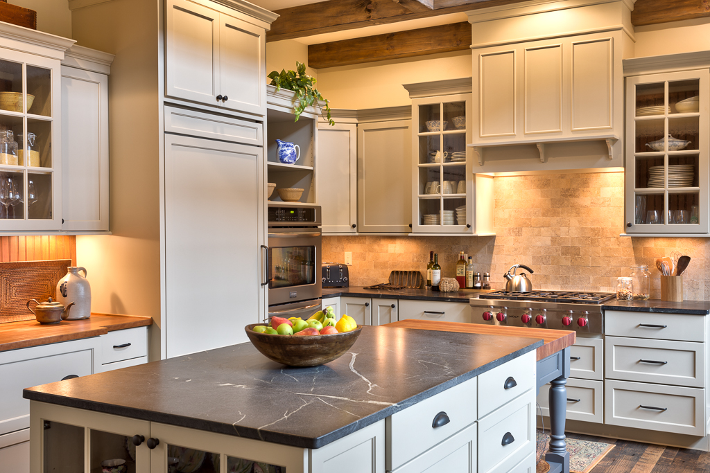 Craftsman Mountain Cabin Cottage kitchen white cabinets stone backsplash soapstone countertops