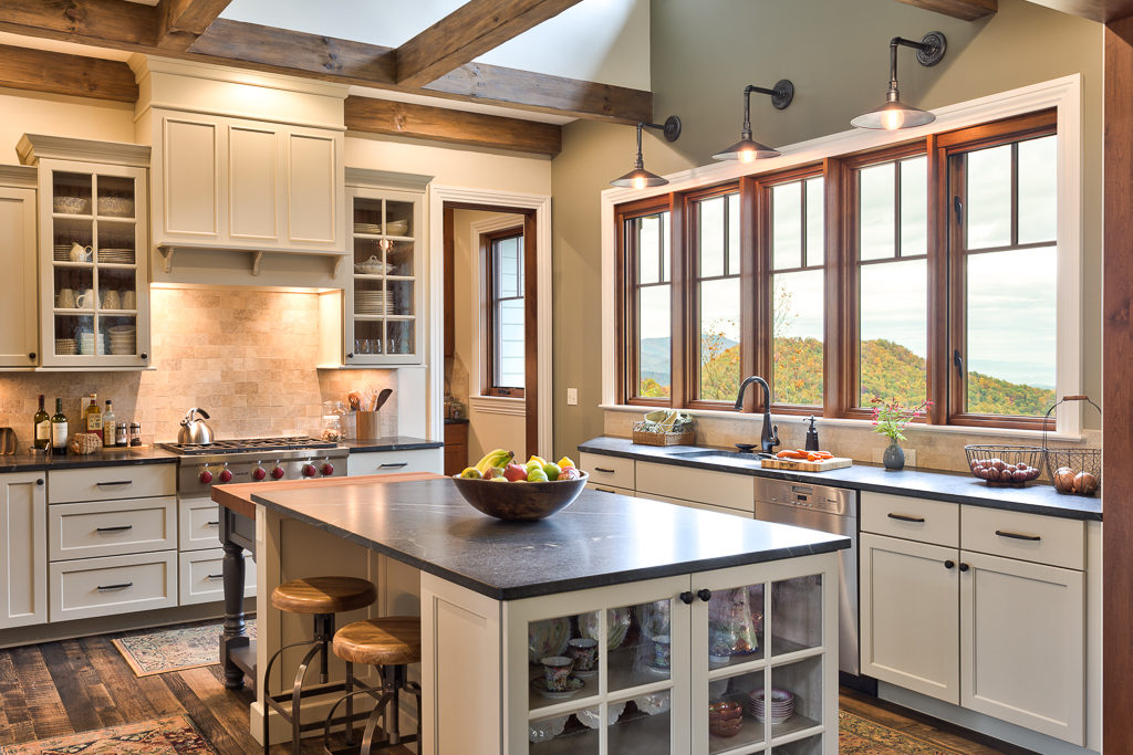 Craftsman Mountain Cabin Cottage kitchen exposed beams soapstone countertop