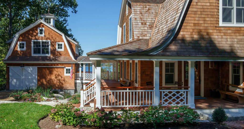 Seaside cottage gambrel roof dutch colonial shingle siding