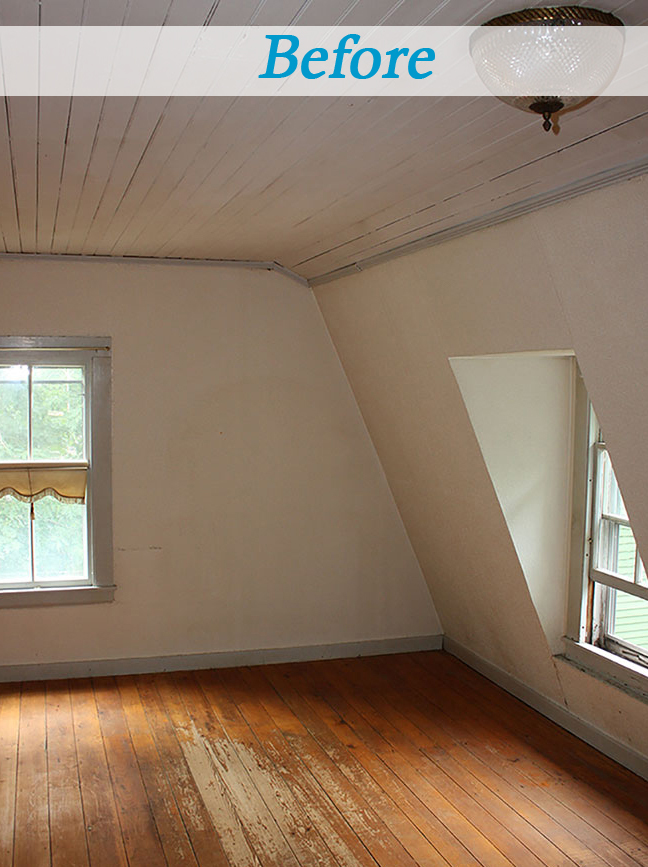 Seaside cottage bedroom before and after