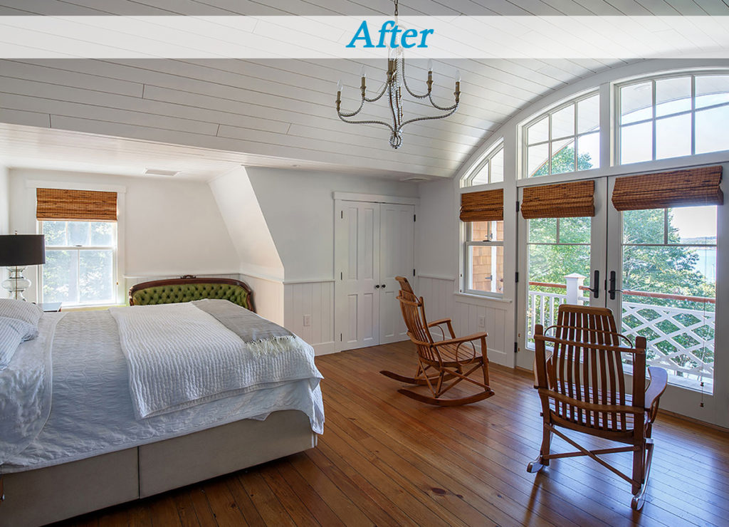 Seaside cottage master bedroom wide plank flooring arched window