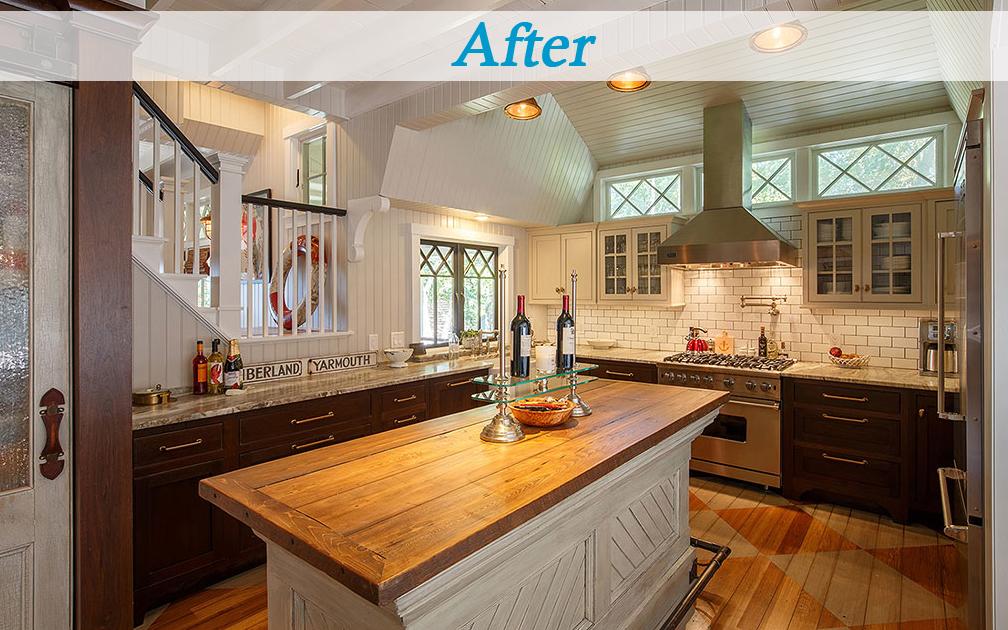 Seaside cottage kitchen wood countertops diamond transom windows subway tile backsplash