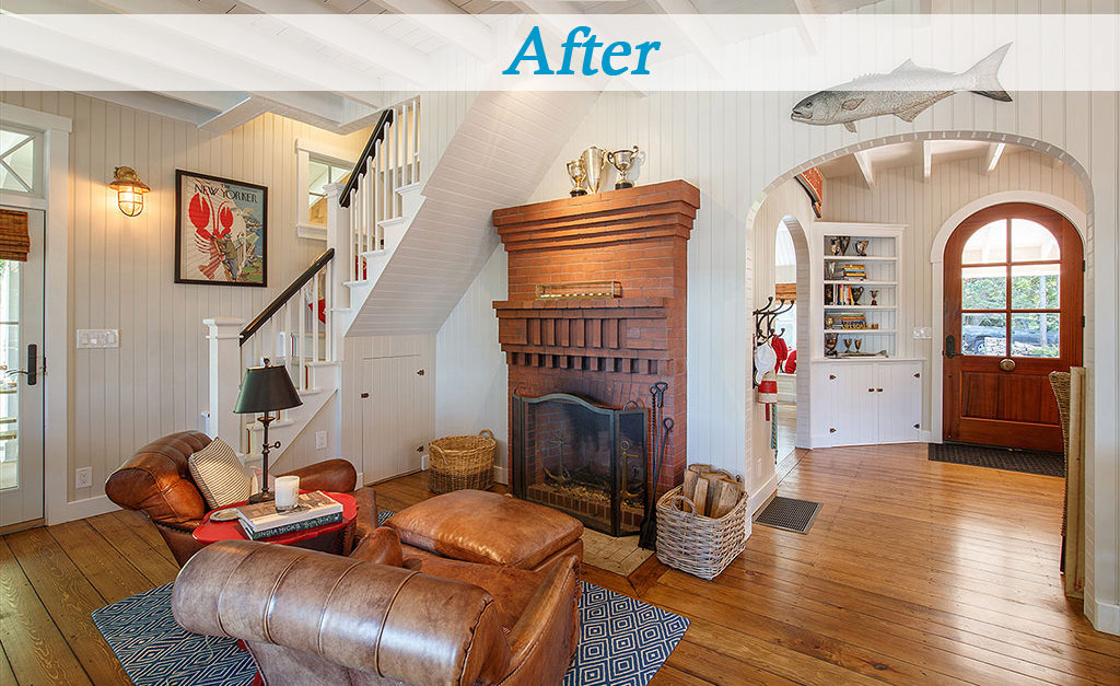 Seaside cottage family room brick fireplace arched doorway