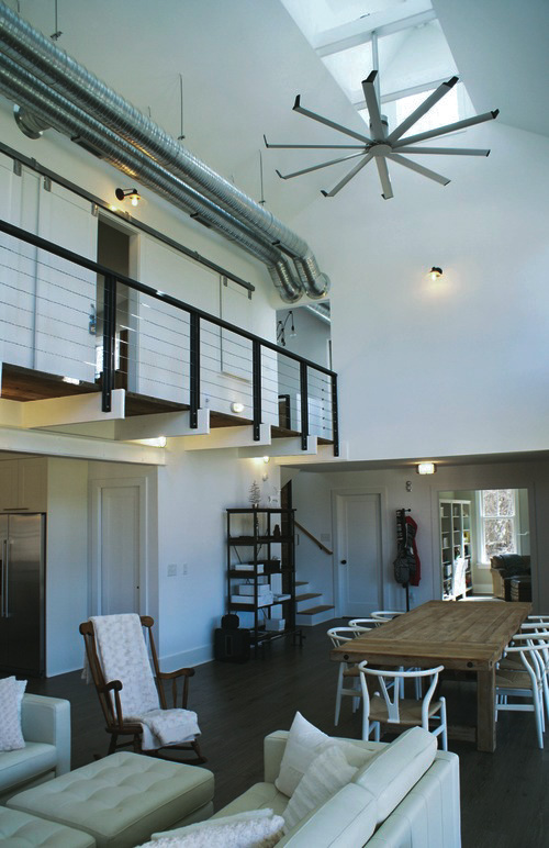 Cabin Remodel Modern Contemporary Farmhouse open dining room cable railing exposed ductwork
