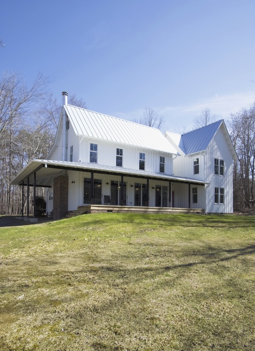 Cabin Remodel Modern Contemporary Farmhouse board and batten standing seam metal roofing