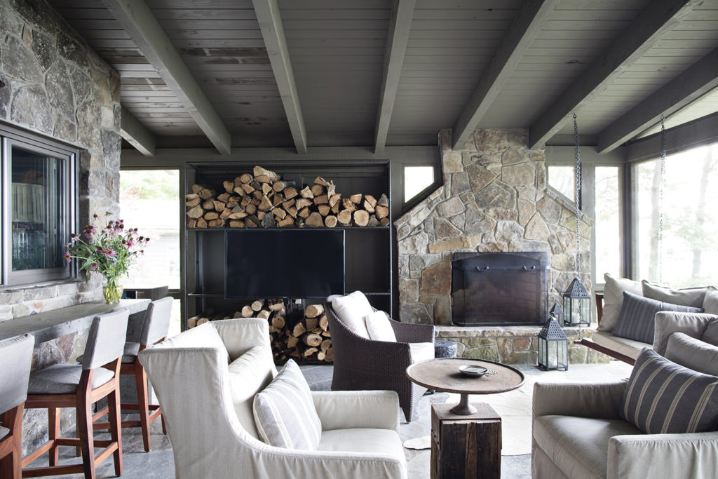 Screened Porch, Massive Stone Fireplace
