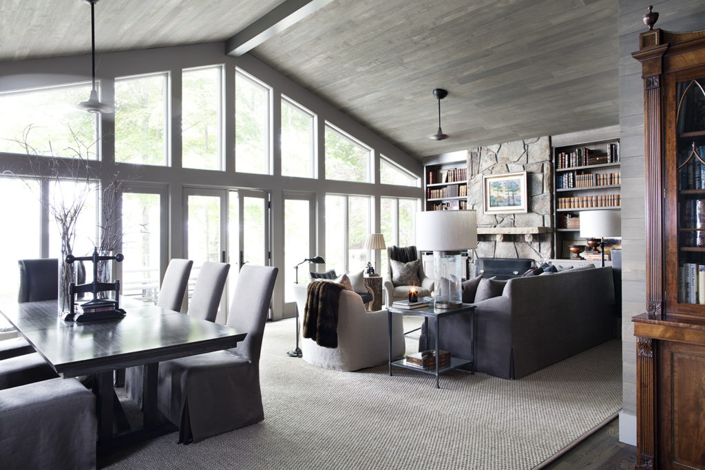 Open Floor Plan Family Room, Stained Wood Ceiling