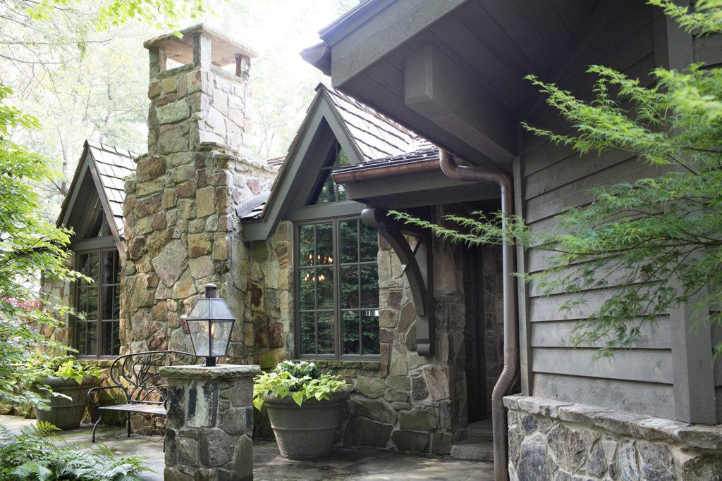 Flagged Stone Chimney, Custom Roof Bracket, Copper Gutters