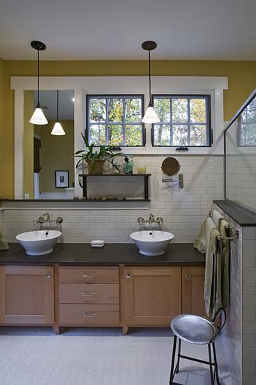Craftsman Cottage master bathroom subway tile basin sink