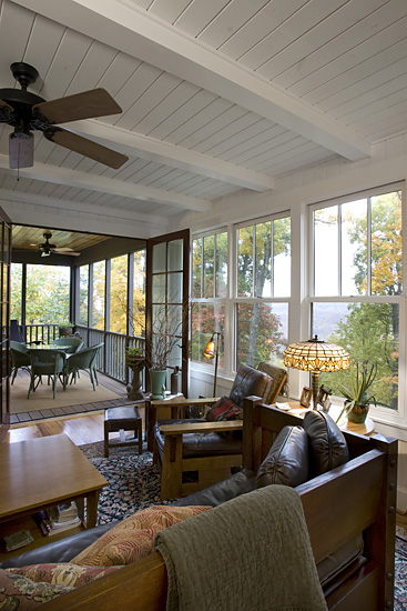 Craftsman Cottage family room screened porch ceiling beams painted board ceiling
