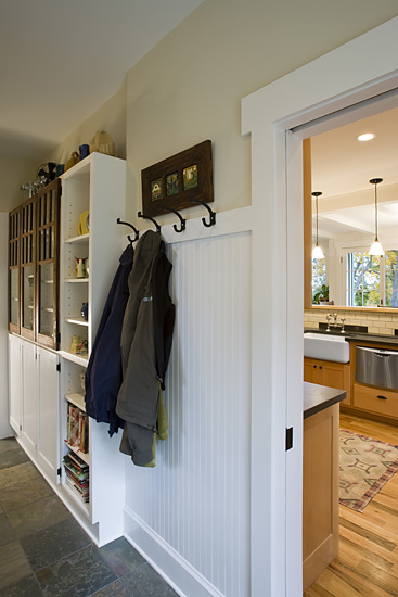 Craftsman Cottage mudroom beadboard wainscot