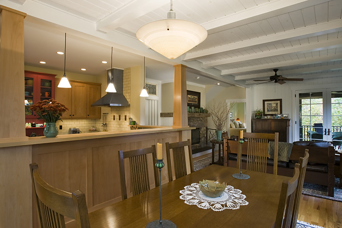 Craftsman Cottage kitchen ceiling beams painted v-groove board ceiling