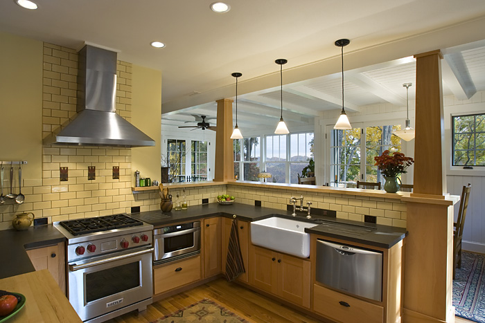 Craftsman Cottage kitchen stainless steel appliances subway tile