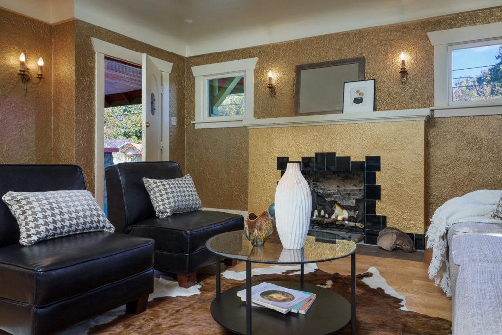 Craftsman living room with original details