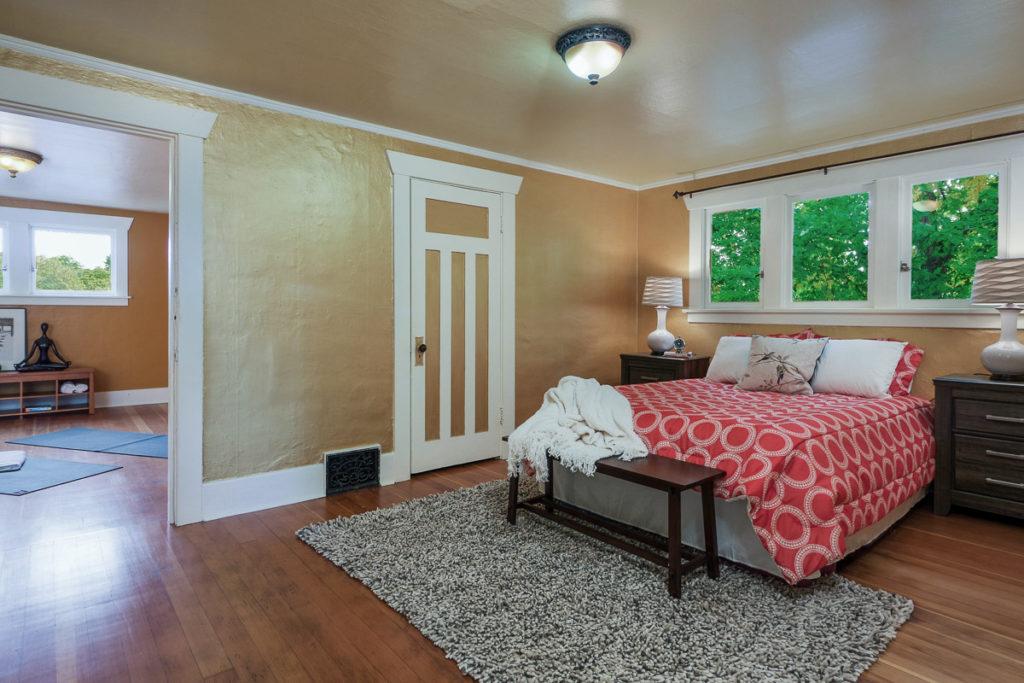 Craftsman bedroom with original trim