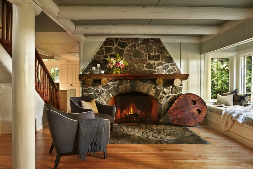 Massive Flagged Stone Fireplace and Window Seat in an Arts and Crafts Bungalow