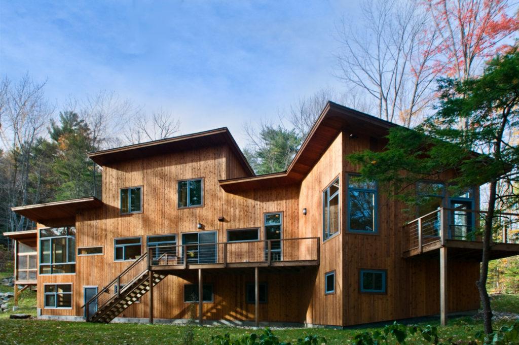Contemporary cedar siding home