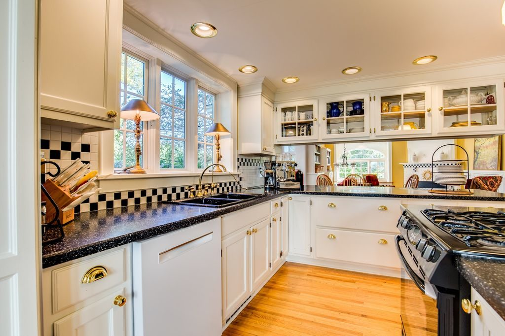 White Kitchen Dark Countertops
