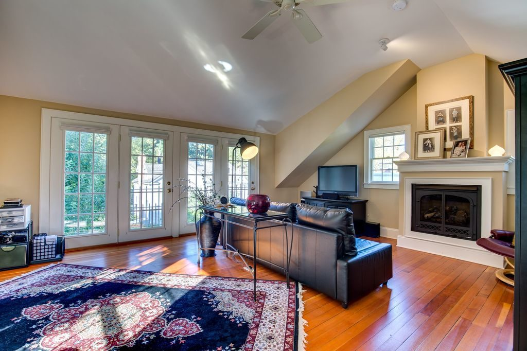 Family Room Hardwood Floors Fireplace Cathedral Ceiling