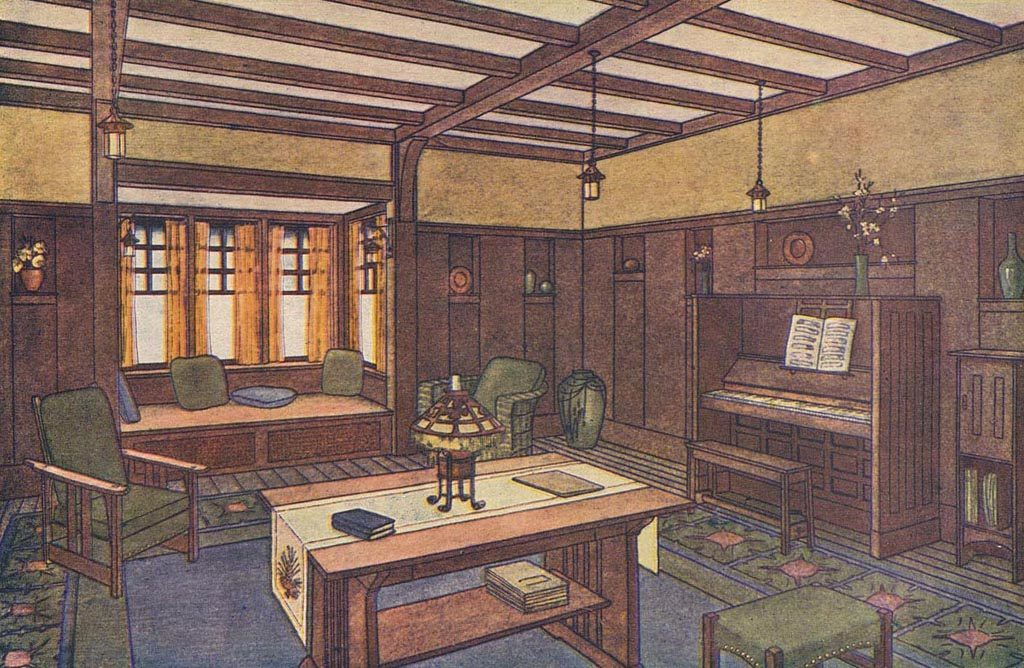From A Pattern Book This Drawing Shows Proper Craftsman Interior With Beamed Ceiling And Shoulder Height Wainscoting Laurelhurst
