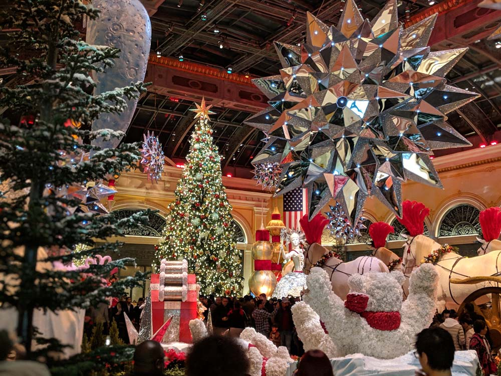 The Bellagio's floral decorations fill the entire 14,000 square foot Conservatory.