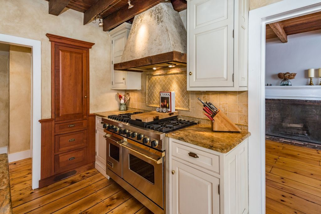 Federal Colonial Style Home kitchen exposed wood beams