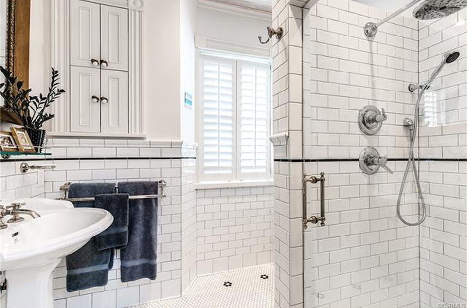 restored brick townhouse master bath tile shower