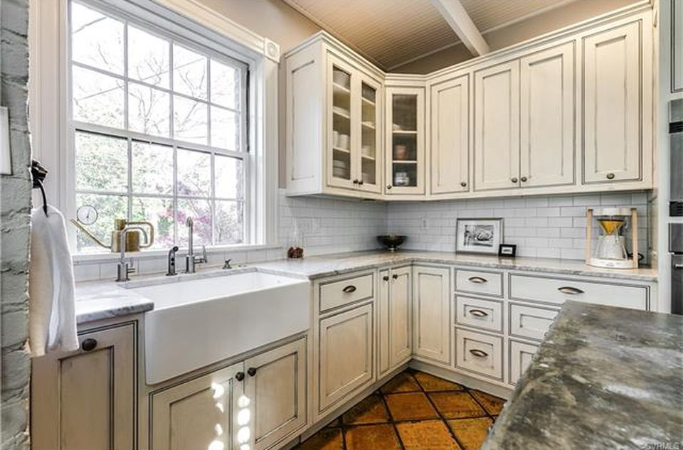restored brick townhouse kitchen