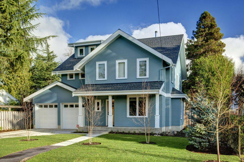 new craftsman home modern farmhouse blue siding
