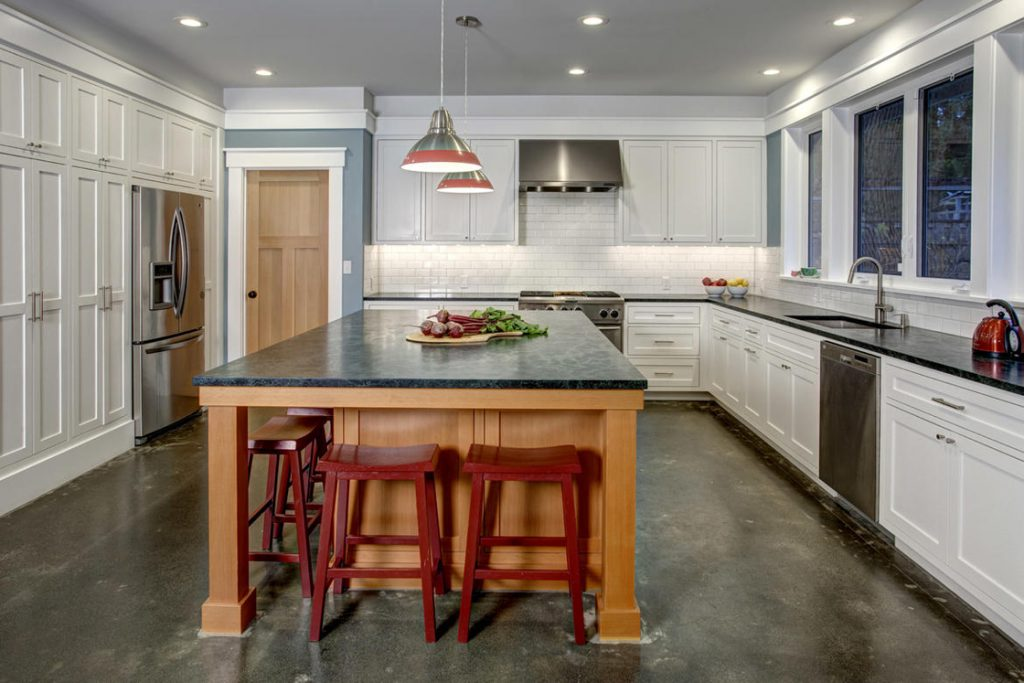 new craftsman home modern farmhouse big kitchen island concrete floors