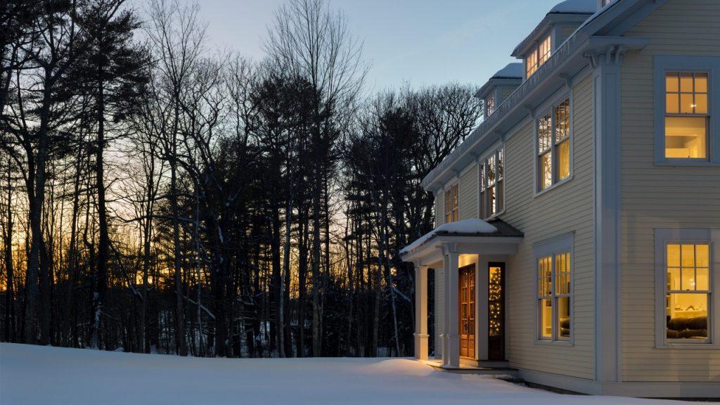 yellow New England farmhouse